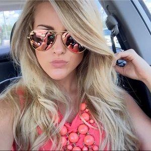 Ray Ban Rose Gold Aviator Sunglasses